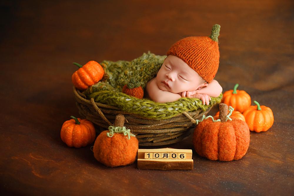 芳妮豆丁儿童摄影 创意满月照 | 可可爱爱♡糯叽叽的小南瓜